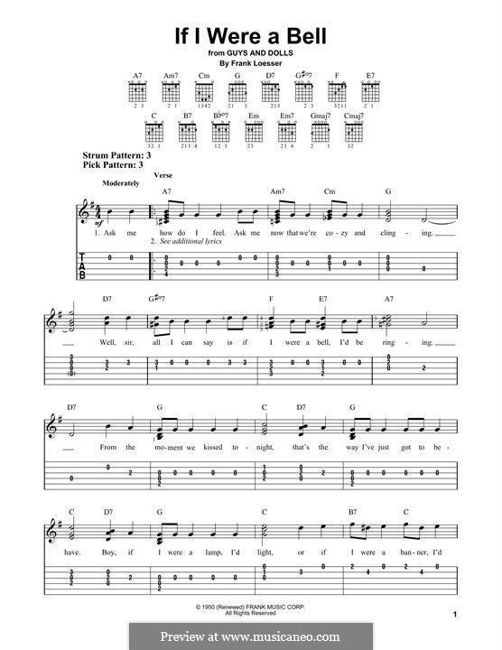 If I Were a Bell: Für Gitarre by Frank Loesser