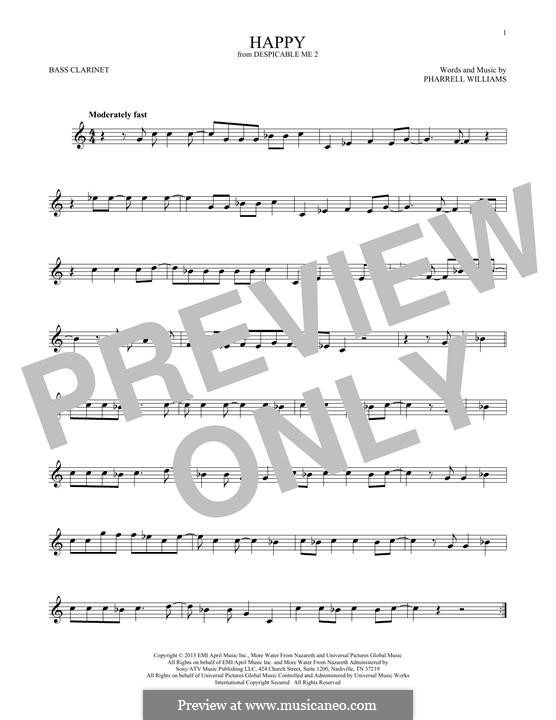 Happy (from Despicable Me 2): Bass clarinet by Pharrell Williams
