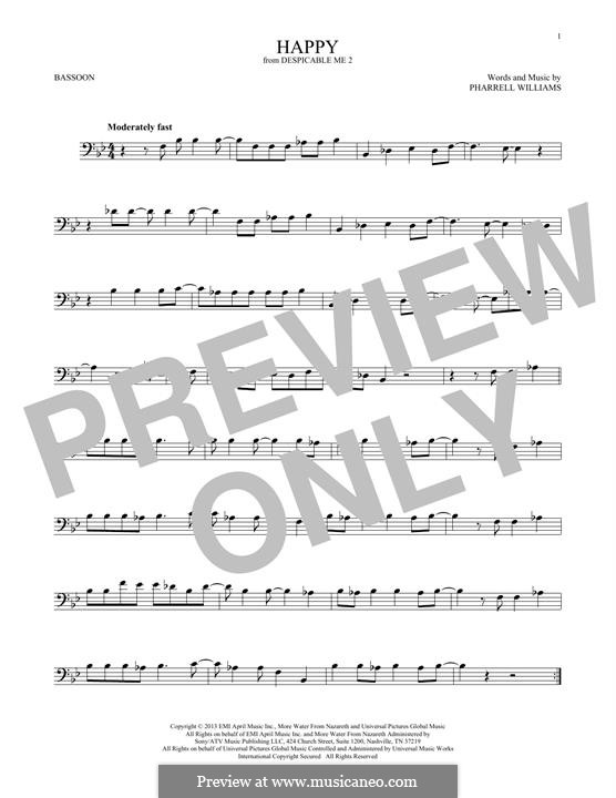 Happy (from Despicable Me 2): For bassoon by Pharrell Williams