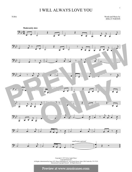 I Will Always Love You (Whitney Houston) instrumental version: For tuba by Dolly Parton