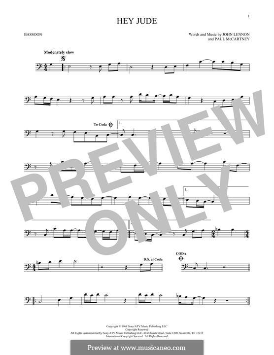 Hey Jude (The Beatles): For bassoon by John Lennon, Paul McCartney