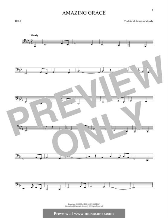 Amazing Grace (Printable Scores): For tuba by folklore