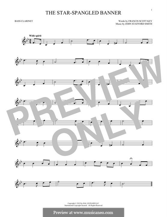 The Star Spangled Banner (National Anthem of The United States). Printable Scores: Bass clarinet by John Stafford Smith