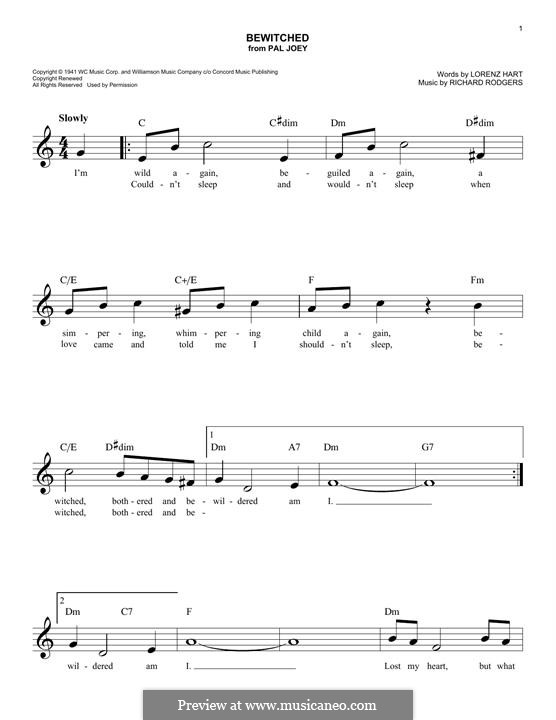 Bewitched (The Betty Smith Group): Für Keyboard by Richard Rodgers
