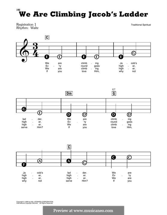 We are Climbing Jacob's Ladder: Für Klavier by folklore