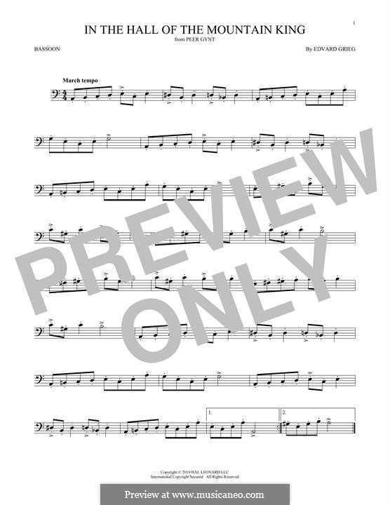Suite Nr.1. In der Halle des Bergkönigs, Op.46 No.4: For bassoon by Edvard Grieg