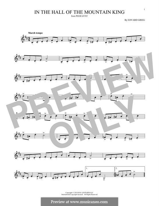 Suite Nr.1. In der Halle des Bergkönigs, Op.46 No.4: Bass clarinet by Edvard Grieg