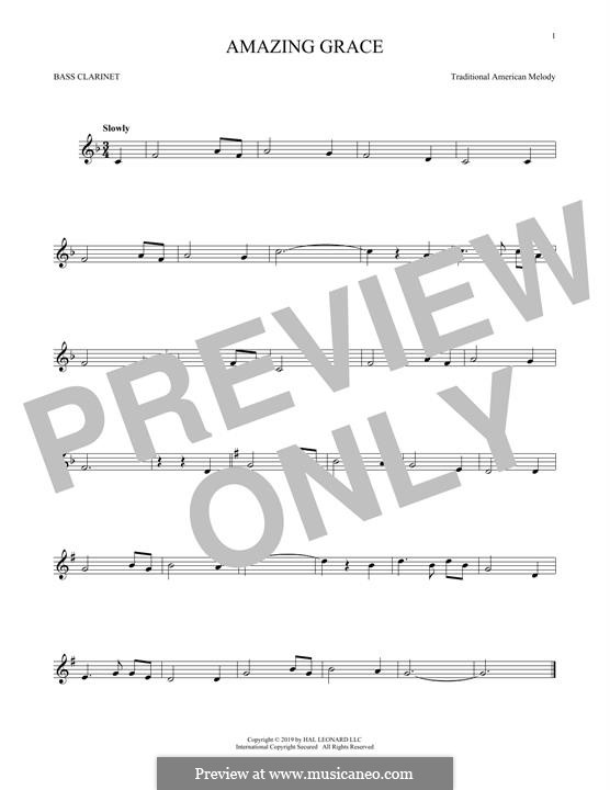 Amazing Grace (Printable Scores): Bass clarinet by folklore