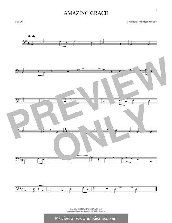 Amazing Grace (Printable Scores): Für Cello by folklore