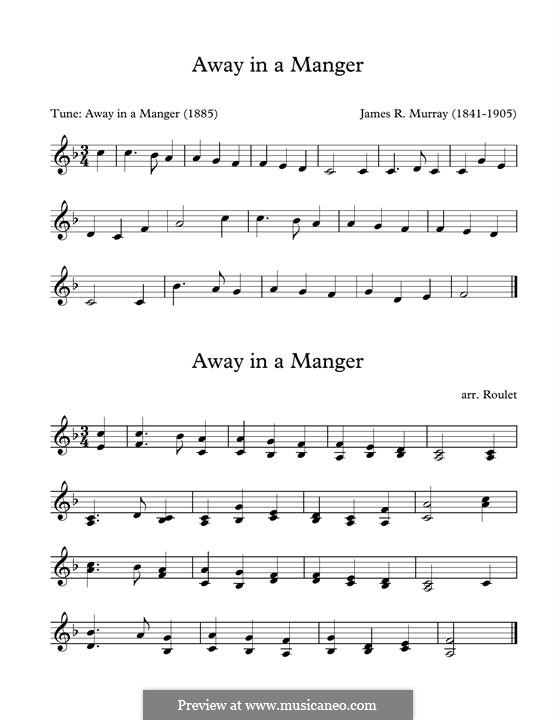 Away in a Manger (Printable Scores): For marimba by James R. Murray