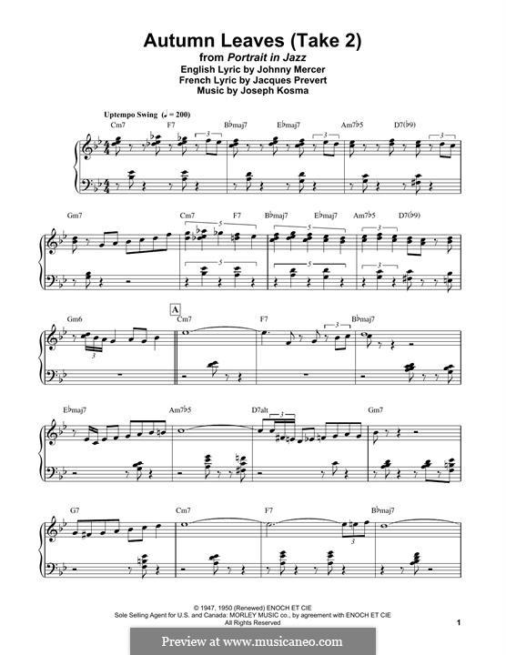 Autumn Leaves: Für Klavier, leicht by Joseph Kosma