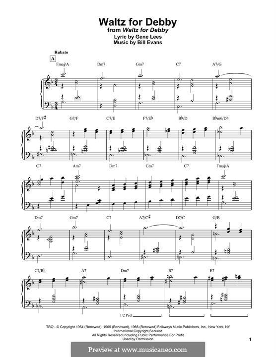Waltz for Debby: Für Klavier, leicht by Bill Evans