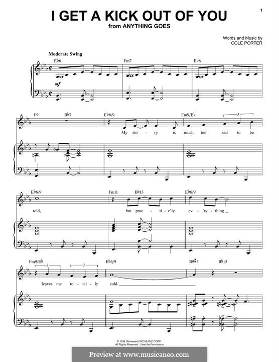 I Get a Kick Out of You (Frank Sinatra): For voice and piano (jazz version) by Cole Porter