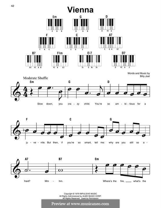 Vienna: Für Klavier, leicht by Billy Joel