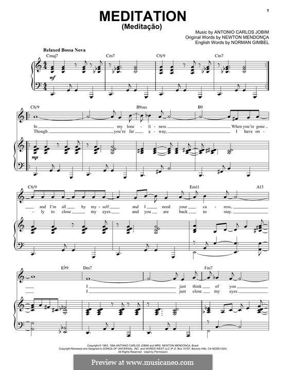 Meditation: For voice and piano (jazz version) by Antonio Carlos Jobim