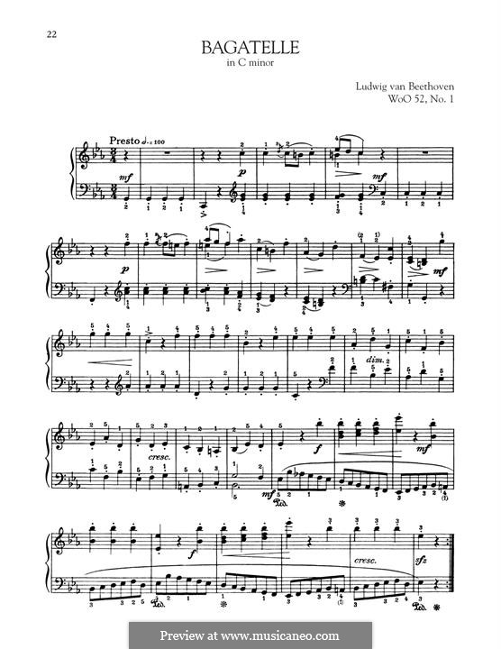 Zwei Bagatellen, WoO 52, 56: Bagatelle in C Minor by Ludwig van Beethoven