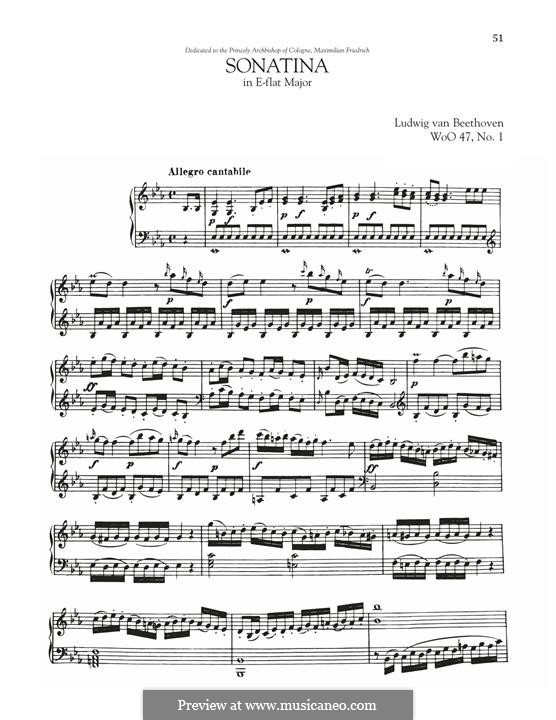 Sonata in E-Flat Major, WoO 47 No.1: Sonata in E-Flat Major by Ludwig van Beethoven