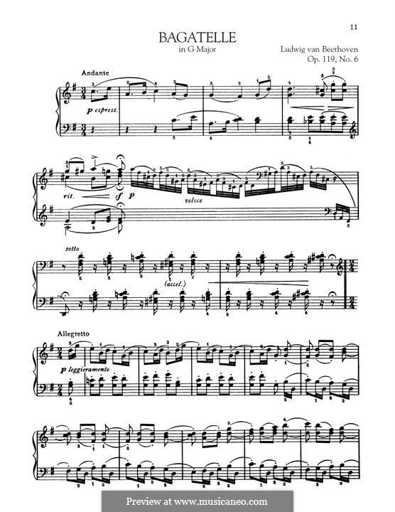 Elf neue Bagatellen für Klavier, Op.119: Bagatelle No.6 by Ludwig van Beethoven