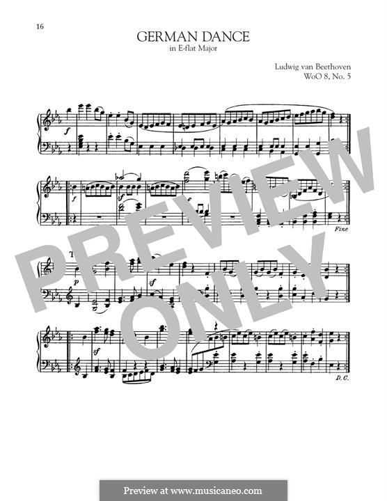 Zwölf deutsche Tänze, WoO 8: Dance No.5 by Ludwig van Beethoven