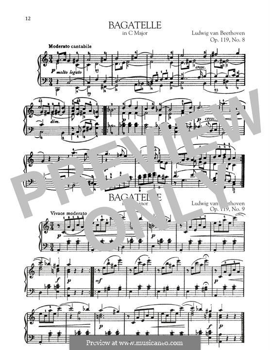 Elf neue Bagatellen für Klavier, Op.119: Bagatelle No.8 by Ludwig van Beethoven