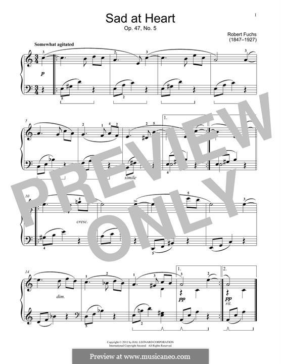 Jugendalbum, Op.47: No.5 Sad At Heart by Robert Fuchs