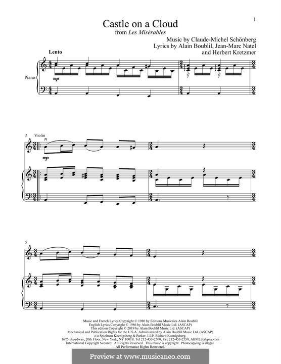 Castle on a Cloud : Für Violine und Klavier by Claude-Michel Schönberg