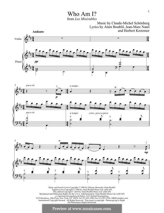 Who am I?: Für Violine und Klavier by Claude-Michel Schönberg