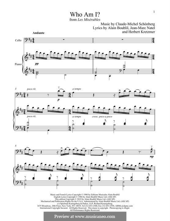 Who am I?: Für Cello und Klavier by Claude-Michel Schönberg