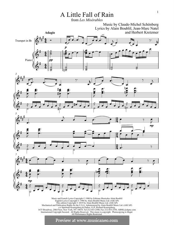 A Little Fall of Rain: For trumpet and piano by Claude-Michel Schönberg