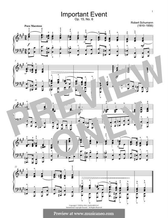 Nr.6 Wichtige Begebenheit: Für Klavier by Robert Schumann