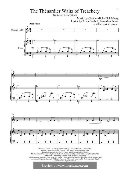 The Thenardier Waltz of Treachery: Für Klarinette und Klavier by Claude-Michel Schönberg