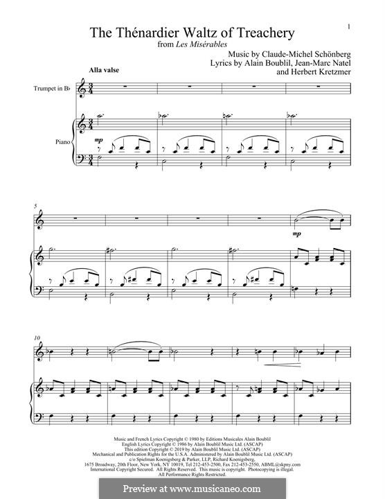 The Thenardier Waltz of Treachery: For trumpet and piano by Claude-Michel Schönberg