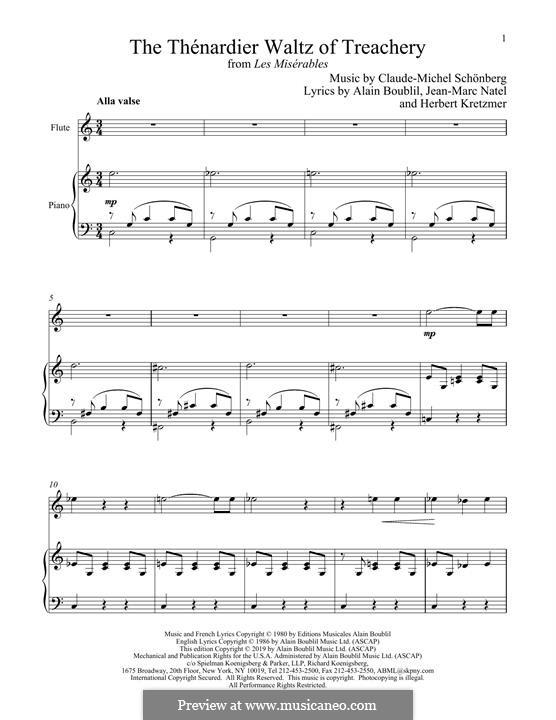 The Thenardier Waltz of Treachery: Für Flöte und Piano by Claude-Michel Schönberg