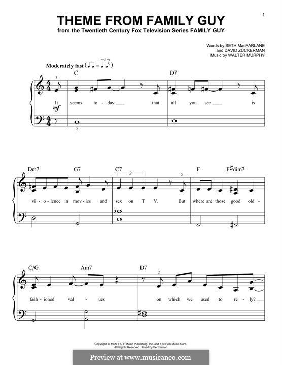 Theme from Family Guy: Für Klavier by David Zuckerman, Seth MacFarlane, Walter Murphy