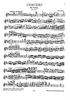 Violinkonzert in D-Dur: Version für Violine und Klavier – Violinstimme by August Enna