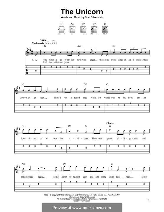 The Unicorn: Für Gitarre by Shel Silverstein