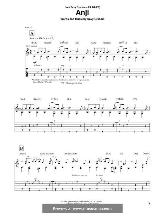 Angi: Für Gitarre by Davey Graham