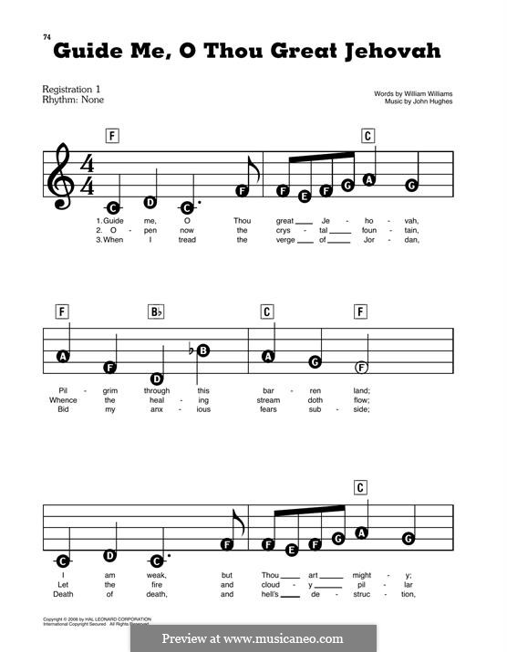 Guide Me, O Thou Great Jehovah: Für Klavier by John Hughes