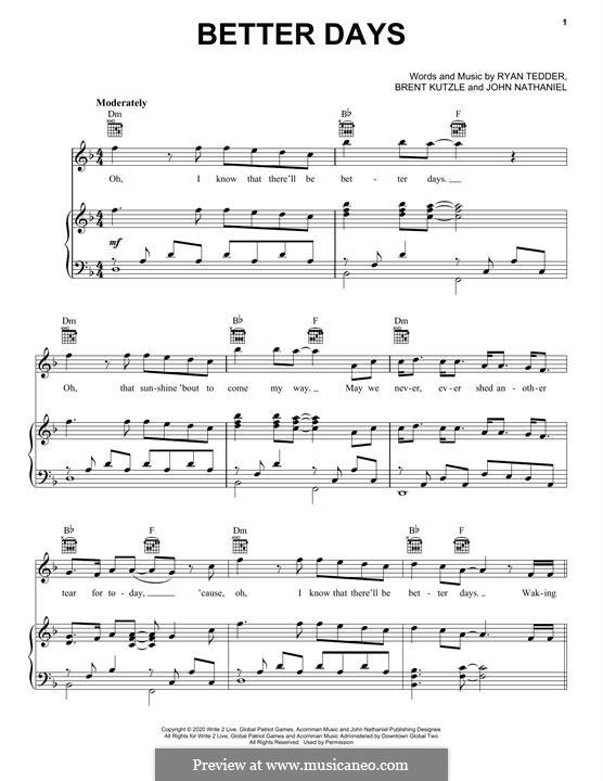 Better Days (OneRepublic): Für Stimme und Klavier (oder Gitarre) by Brent Kutzle, Ryan B Tedder
