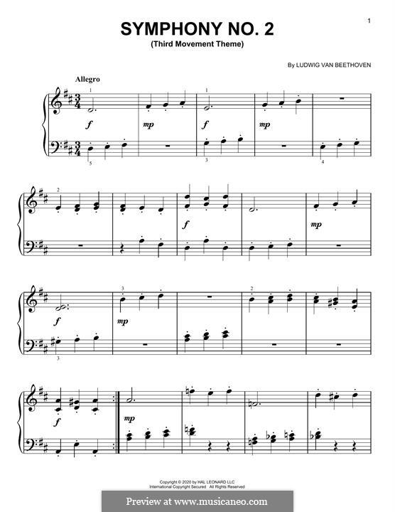 Sinfonie Nr.2, Op.36: Third Movement Excerpt, for piano by Ludwig van Beethoven