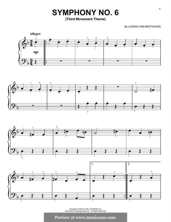 Teil III. Lustiges Zusammensein der Landleute: Theme, for piano by Ludwig van Beethoven