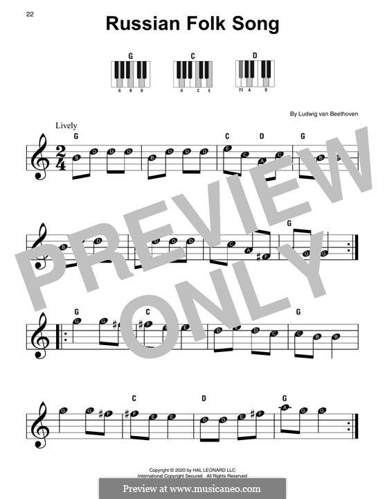 Russische Volkslied für Klavier: Für einen Interpreten by Ludwig van Beethoven