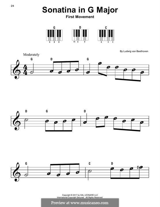 Sonatine in G-Dur: Easy version by Ludwig van Beethoven