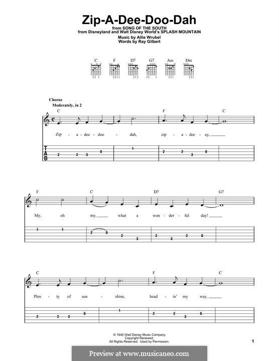 Zip-A-Dee-Doo-Dah: Für Gitarre by Allie Wrubel
