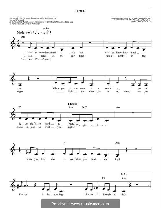 Fever: Für Keyboard by Eddie Cooley, John Davenport