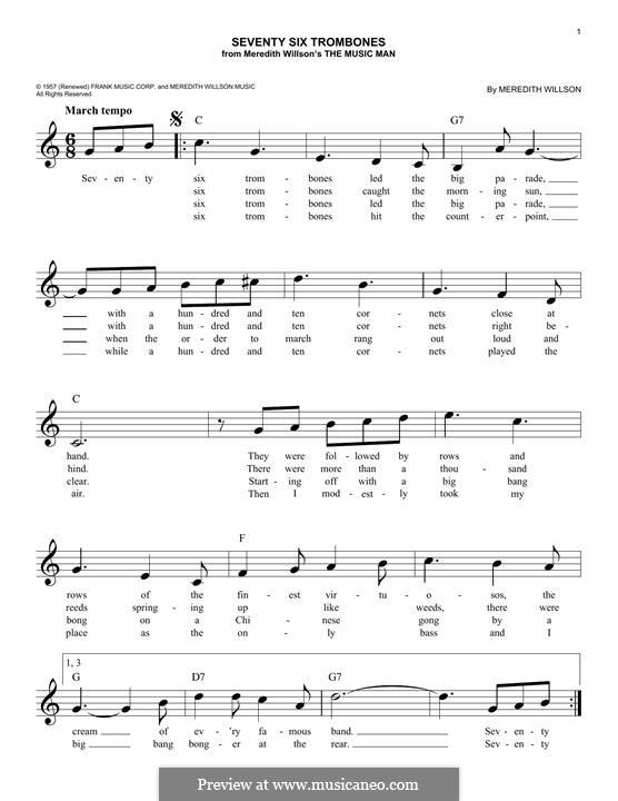 Seventy Six Trombones: Für Keyboard by Meredith Willson