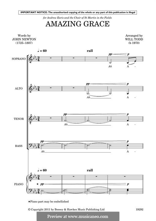 Amazing Grace (Printable Scores): Choir by folklore
