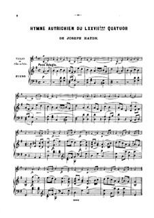 Streichquartett Nr.62 in C-Dur 'Kaiser', Hob.III/77 Op.76 No.3: Teil II, für Violine (oder Flöte, oder Cello) und Klavier by Joseph Haydn