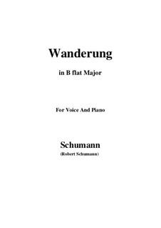 Zwölf Gedichte für Stimme und Klavier, Op.35: No.7 Wanderung (Wandering) B flat Major by Robert Schumann