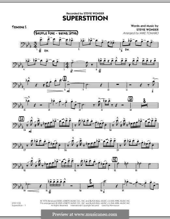 Superstition (arr. Mike Tomaro): Trombone 2 part by Stevie Wonder